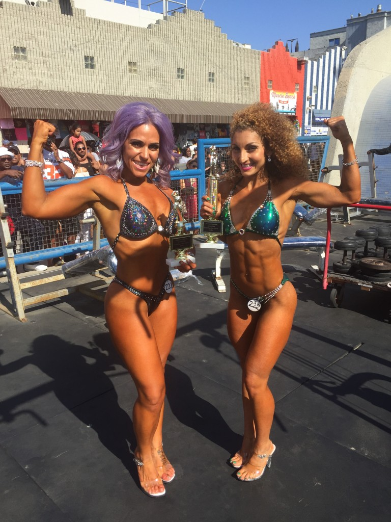 Much flexing after my 4th place finish and Julie's KILLER 1st place showing!